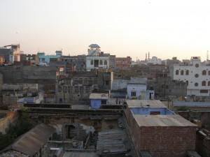 Jaipur - zachód słońca widziany z dachu domu kolegi